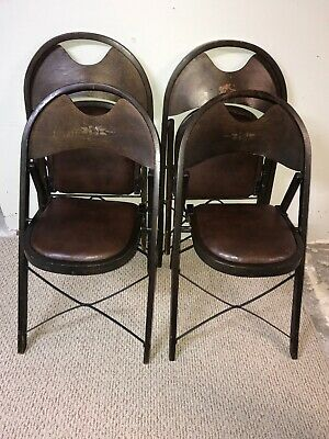Set Of 2 Vtg Wooden Curved Back Folding Funeral Parlor Chairs- Needs Some TLC