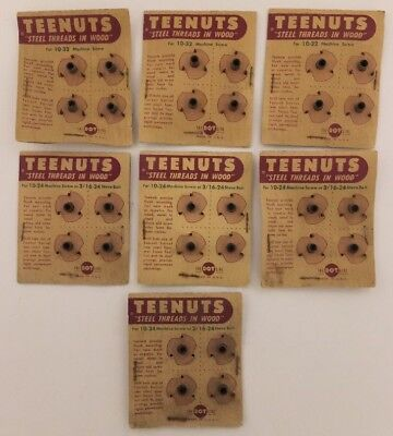 """Tee Nuts 1/4"""" 4-Prong Stainless Steel 7 Packages Of 4 Each(Total 28) Vintage New"""