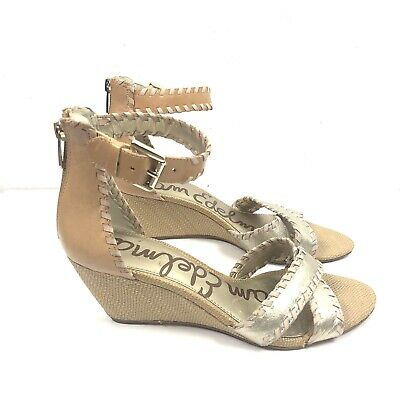 c9854a7bd Sam Edelman Ladies Gold Beige Silvia Ankle Strap Open Toe Wedge Heel Size 8