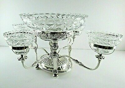 Antique English Silver Plate Epergne Centerpiece Tazza and Cut Crystal Bowls