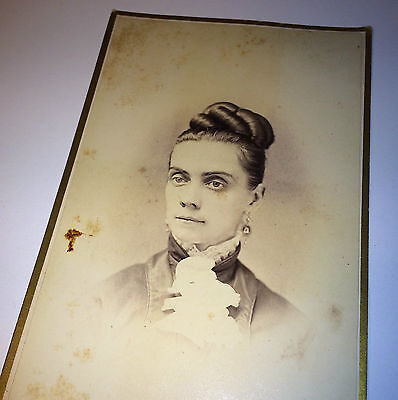Antique Victorian Fashion Beautiful Woman Fancy Jewelry, New York Cabinet Photo!