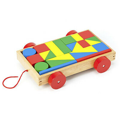 Pull Along Wooden Block Wagon - FREE POSTAGE