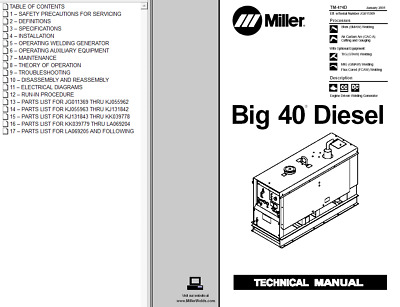 miller big 40 diesel powered technical manual