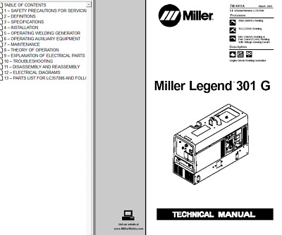 miller legend 301 g service technical manual