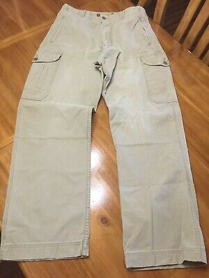 5a38f8766d Men's American Eagle Outfitters Aeo Cargo Pants Khaki Beige Tan 34X34  Distressed