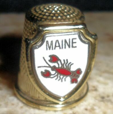 Gold Tone Pewter Florida Lobster Sewing Thimble Metal Collectible Craft Souvenir