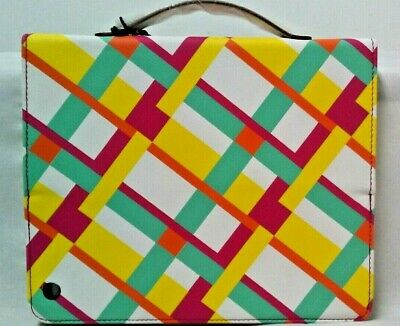 Kate Landry Rfid Lined Pink Yellow Plaid Cabana Ipad & Air Case Clutch Cover