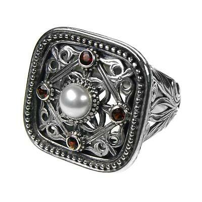 Gerochristo 2566 ~ Sterling Silver with Pearl &  Rubies Medieval Cocktail Ring