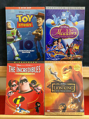 Aladdin, Toy Story, Lion King, Incredibles 1 (4 DVDs Total) Brand New