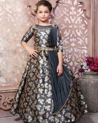 0456768a5c9 Kids Gown Ethnic Dress Indian Kids Salwar Kameez Suit Party Frocks Grey  Gowns