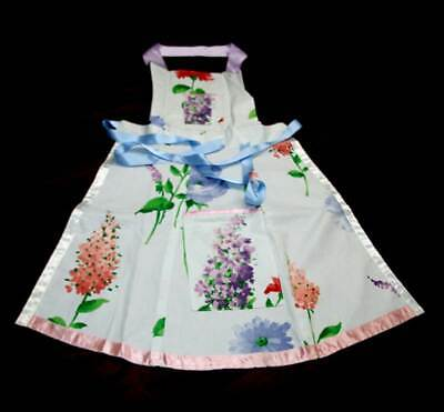Vintage beautiful blue & floral cute ribbon tie apron pinny retro