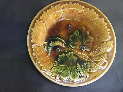 Antique Majolica Wall  Plate with Grape Leaves  Vintage C.1870