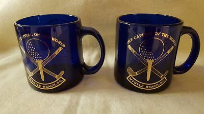Pair of Cobalt Blue Glass Golf Capital of the World Myrtle Beach, SC Mugs