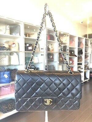 e2bc9eee5d0681 Chanel Classic Medium Black Lambskin Coco 2.55 Flap Handbag Purse Pickup@LA