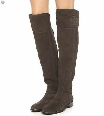 694a16a10c13 TORY BURCH SIMONE Brown Suede Over The Knee Boots  575 Sz 7.5 ...