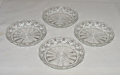 "SET OF FOUR Perfect Vintage Hocking ""WATERFORD WAFFLE"" Drink Coasters!!"