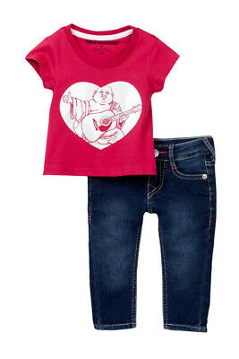 83f1deb61 TRUE RELIGION INFANT Girl s Outfit Tee and Jeans Set Sweatsuit NEW ...