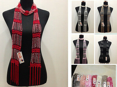 Promotion handmade rhinestone Crocheted Bling pearl Beaded  Knitted Scarf Wraps