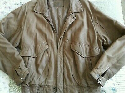 34015952e6a2a HUNT CLUB Men's L/42-44 Distressed Brown Leather Bomber Jacket w/Quilted