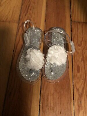 fb2b8700d558 NEW Toddler Girls Wonder Nation Clear Glitter Jelly Flower Sandals Shoes  Size 8