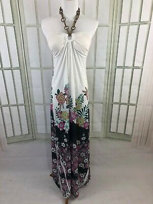 Celle Size Small Halter Maxi Dress Slinky Beach Floral Ruched Sweetheart Neck