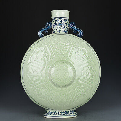 "13"" Chinese old Porcelain Qing qianlong mark blue white eight symbols flat vase"