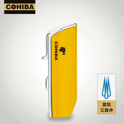 COHIBA Yellow Metal Torch Jet Flame Cigarette Cigar Lighter Snake Mouth Shape
