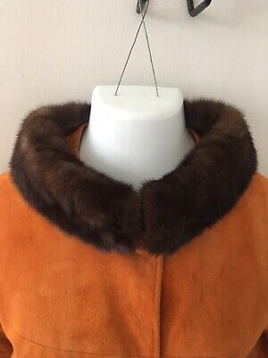 Vintage 60s Suede Coat With Fur Collar. Orange Size S / M.  G.O.Fox & CO.