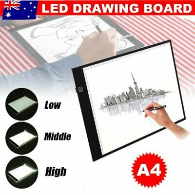 A4 LED Drawing Board Light Box Tracing Pad Art Design Copy Lightbox W/ USB Wire