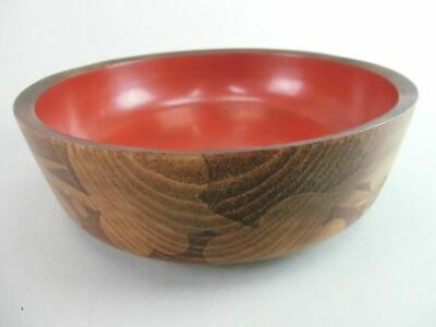 Japanese Lacquer ware Bowl Vtg Wooden Kashiki Red Brown Grain Flower Hachi LW759