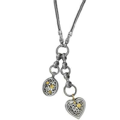 Gerochristo 3312-  Solid 18K Gold & Sterling Silver- Cable Charms Heart Necklace