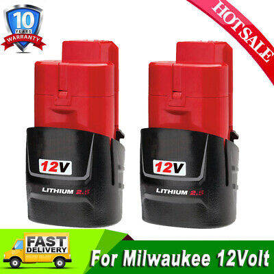 2x For Milwaukee M12 12-Volt LITHIUM 2.5Ah 48-11-2420 Compact Battery 48-11-2402