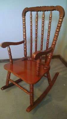 Antique Child's Rocking Chair Solid Wood Rocker Small Doll Infant Vintage