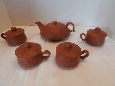 Vintage Chinese Terracotta Tea Set 10 Pieces New Never Use With Out Box