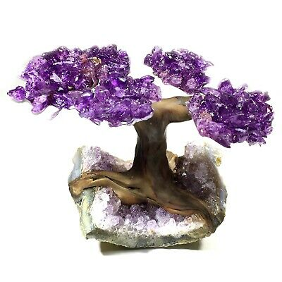 Uruguay Amethyst Geode Crystal Cluster Wire Tree Of Life art TWIN SPIRIT TREE