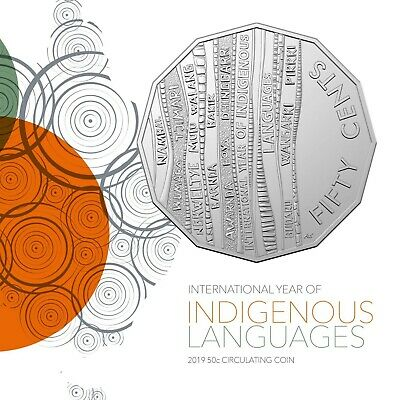 UNC 2019 50c Indigenous Languages in 2x2 holders .50 cent.