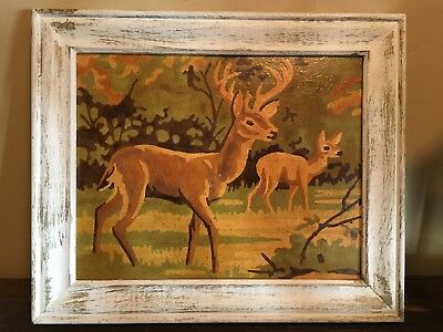 "Great Vintage 8"" X 10"" Paint By Number Deer Picture"