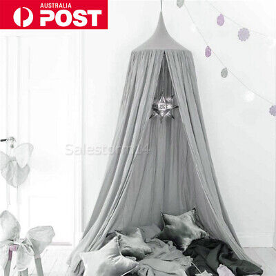 Kids Baby Bed Canopy Cover Net Curtain Bedding Anti-Mosquito Dome Tent Cotton OZ