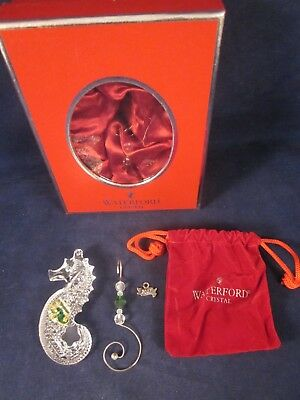 WATERFORD CRYSTAL Christmas Ornament Seahorse 2007 Enhancer Hanger ~ NEW in BOX