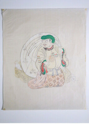 "Scarce 19th Century Meiji Period Japanese Ink Wash Original Drawing ""God Hotei"""