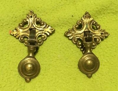 Antique ~ Drawer Pulls ~ Solid Brass ~ Lot of 2 ~Victorian ~ Hardware ~ KBC