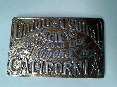 Vintage Brass Belt Buckle - Central & Pacific Union Railroad