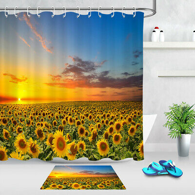 Sunflower in The Sunset Shower Curtains with 12 Hooks Sunflowers Shower Curtain Set with Non-Slip Bathroom Mats Durable Waterproof Bath Curtain