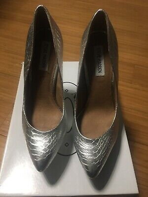 7ac7eb74076 NEW STEVE Madden Silver Shiny Snake Texture Platform Pumps Pointed Toe Heels  8M