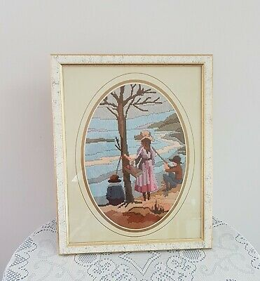 Vintage CHILDREN FISHING IN A LAKE Framed Completed LONG STITCH Picture