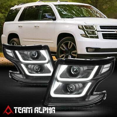 Fits 2015-2020 Suburban/Tahoe <LED U-BAR 3D DRL> Black/Clear Projector Headlight