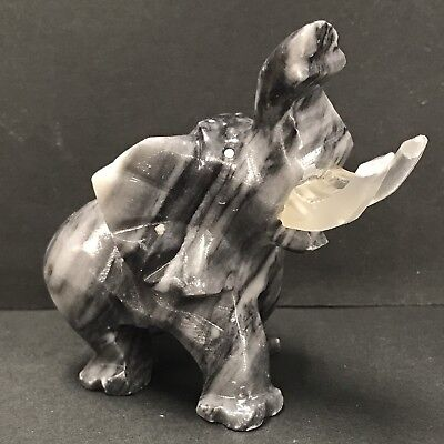Rock Sculpture Gray Elephant Home Decor Beautiful Granite/ Stone or Marble Tusks