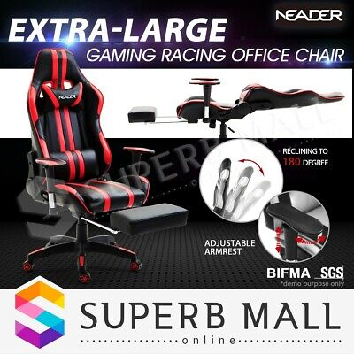 Executive Gaming Racing Computer Office Chair PU Leather Sport Seat w/Footrest