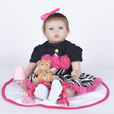 22'' Realistic Toddler Reborn Baby Girl Doll Toy Lifelike Gift Kids Dolls Silico