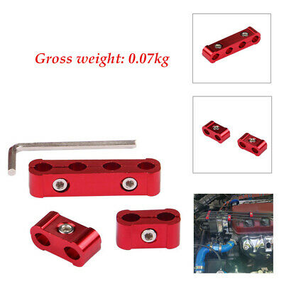 Red 3Pcs Aluminum Engine Spark Plug Wire Separator Organizer Clamp Small Wrench